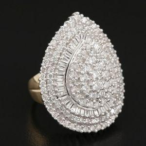 14K Gold 2.33 CTW Diamond Teardrop Ring